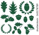 Oak And Acorns. Abstract Oak O...