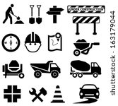 Road repair, construction and maintenance icon set