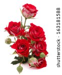 Stock photo red rose flower bouquet isolated on white background cutout 163181588