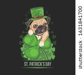 st. patrick's day cute pug... | Shutterstock .eps vector #1631841700