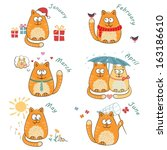 set with cute bright cats.... | Shutterstock . vector #163186610