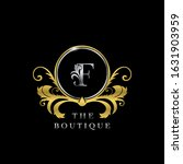 f letter golden  circle luxury  ... | Shutterstock .eps vector #1631903959