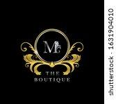 m  letter golden  circle luxury ... | Shutterstock .eps vector #1631904010