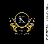 k letter golden  circle luxury  ... | Shutterstock .eps vector #1631904013