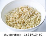 Noodles in bowl isolated on...