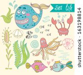 cute vector set with underwater ... | Shutterstock .eps vector #163198814