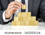 closeup of businessman making a ... | Shutterstock . vector #163203116