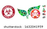 Mosaic herbicide icon and grunge stamp seal with Herbicide text and biohazard symbol. Mosaic vector is created with herbicide icon and with scattered spheric spots. Herbicide stamp uses red color,