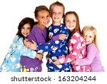 children in winter pajamas... | Shutterstock . vector #163204244