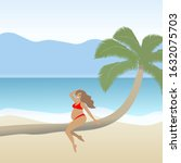 pregnant woman in red swimsuit... | Shutterstock .eps vector #1632075703