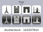 Landmarks Of Paris. Set Of...