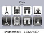 Landmarks Of Paris. Set Of...