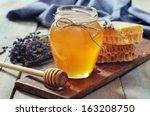 Honey In Jar With Honey Dipper...