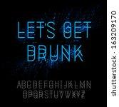 neon party alphabet  vector... | Shutterstock .eps vector #163209170