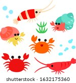 Cute characters of shrimps, crabs and hermit crabs