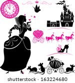 Fairytale Set - silhouettes of Cinderella, Pumpkin carriage with mouses, castle and clock.