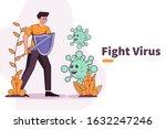 vector illustration fight covid ... | Shutterstock .eps vector #1632247246