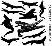 Vector Crocodile Silhouettes