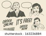 retro people talking on phones  ...