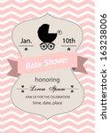 baby shower invitation card... | Shutterstock .eps vector #163238006