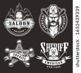 monochrome wild west prints...   Shutterstock .eps vector #1632439339