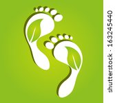 paper foot prints with green... | Shutterstock .eps vector #163245440