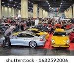 Second hands cars for sale in trade fair for collectors of vintage and luxury models Turin Italy January 30 2020 - stock photo