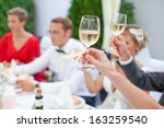 the clink of glasses. wedding... | Shutterstock . vector #163259540