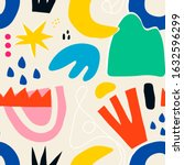 hand drawn various colorful... | Shutterstock .eps vector #1632596299