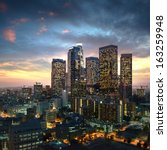 los angeles downtown at sunset  ... | Shutterstock . vector #163259948