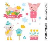 hello spring greeting card. ute ... | Shutterstock .eps vector #1632609643