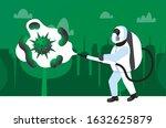 man in hazmat suit cleaning and ... | Shutterstock .eps vector #1632625879