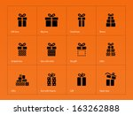gift icons on orange background....