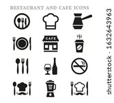 restaurant and cafe icons set... | Shutterstock .eps vector #1632643963