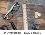 Small photo of Wooden ruler, School ruler pencil