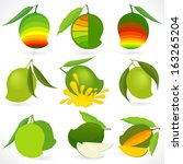 ' mango world '   icons and... | Shutterstock .eps vector #163265204