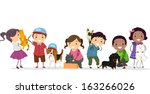 Stock vector illustration of a group of kids standing beside their pets 163266026