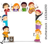 illustration of kids holding... | Shutterstock .eps vector #163266050
