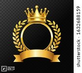 realistic golden crown with... | Shutterstock .eps vector #1632688159