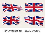 Collection of british flags moving in the wind in vector