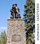 Small photo of Donner Memorial State Park, California - 2015: Donner Party Memorial or Pioneer Monument where members of the ill-fated Donner Party were trapped by weather during the winter of 1846–1847.
