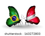 two butterflies with flags on... | Shutterstock . vector #163272803
