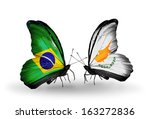 two butterflies with flags on... | Shutterstock . vector #163272836