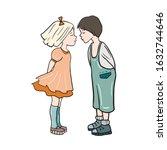 loving boy and girl. kisses to...   Shutterstock .eps vector #1632744646