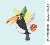 toucan in the tropical leaves....   Shutterstock .eps vector #1632745156
