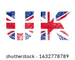united kingdom flag in letters  ... | Shutterstock .eps vector #1632778789