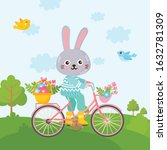 spring greeting card. cute... | Shutterstock .eps vector #1632781309
