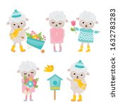 cute animals collection. sheep... | Shutterstock .eps vector #1632783283
