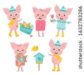cute animals collection. piglet ... | Shutterstock .eps vector #1632783286