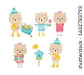 cute animals collection. bear... | Shutterstock .eps vector #1632783793